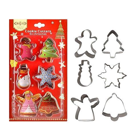 Juego de moldes para galletas de Navidad, 6 piezas, grado 304 de alimentos,