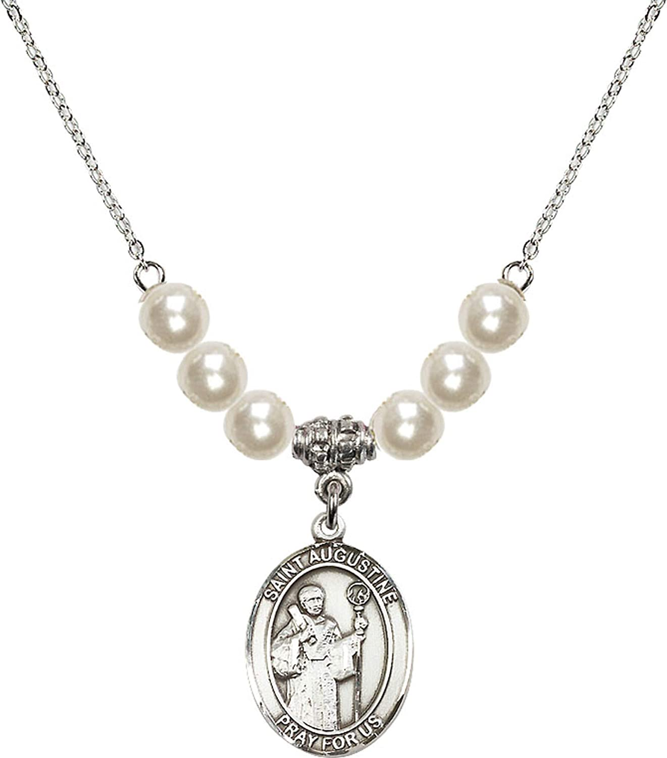 Bonyak Jewelry 18 Inch Rhodium Plated Necklace w// 6mm Faux-Pearl Beads and Saint Augustine Charm