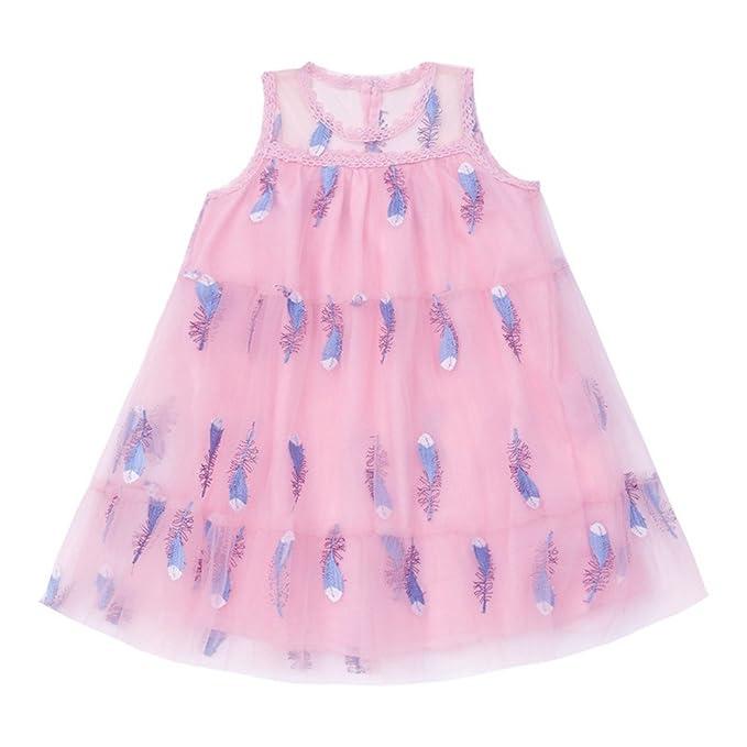 Vestidos de bebé de Verano Niñas Vestido Casual sin Mangas de Malla de  Plumas Pastel Falda Vestido de Fiesta Vestido c5814a82f4e