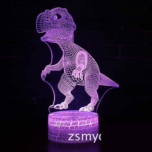 Dinosaurio Tyrannosaurus Rex Mesa de luz nocturna en 3D 7 colores ...