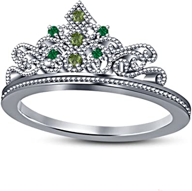 SVC-JEWELS Heart Shape Princess Crown Engagement Wedding Ring Set Round Green Emerald 14k Yellow Gold Plated