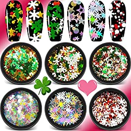 Holographic Nail Chunky Glitter – 6 Pots 13 Shape Mixed Nail Sequins, Heart Iridescent Mermaid Flake Laser Sparkly Star Confetti Glitter for for Festival Nail Art Design or Make Up
