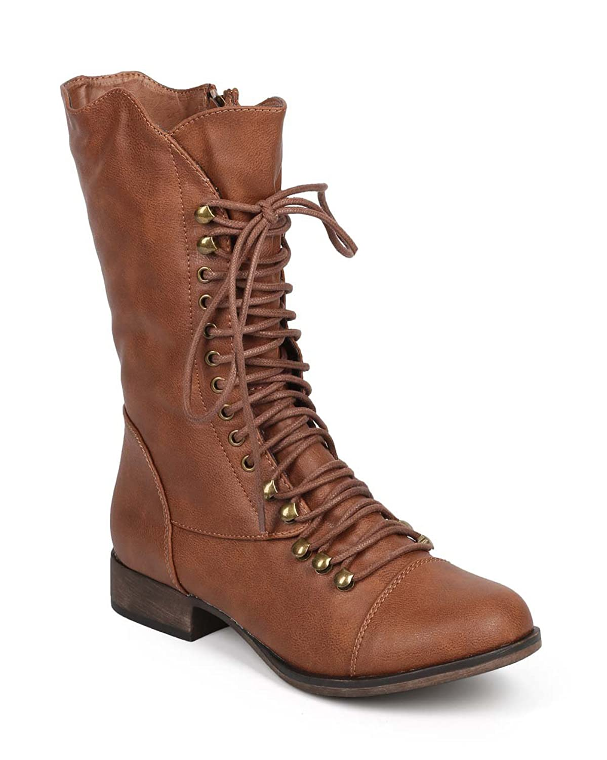 durable modeling Georgia 74 Women Military Lace Up Mid Calf Combat Boot Tan  7