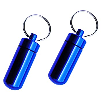 Baoblaze Portable Waterproof Pocket Pill Box Container Fob Capsule Keychain Keyring