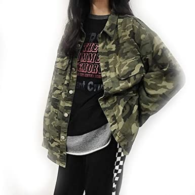 lc clothoes New Green Camo Harajuku Oversize Female Long ...