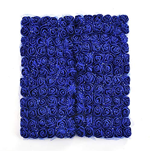 Artificial Foam Rose Multicolor PE Flowers Head DIY Parts Hair Band Ornaments Wreath Wedding Simulation Garland 144 PCS 2cm (Royal Blue) ()