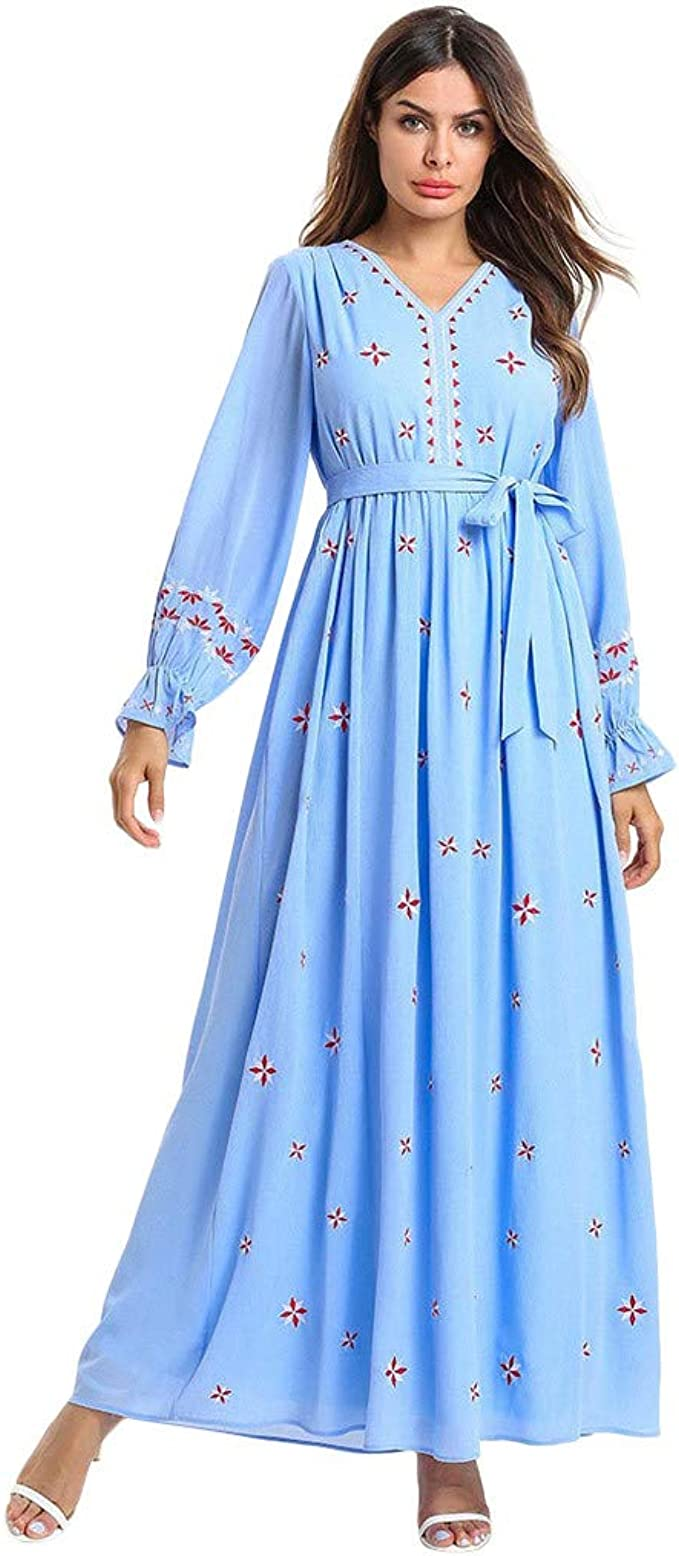 New Muslim Women Long Maxi Dress Dubai Embroidery Gown Islamic Abaya Kaftan Robe
