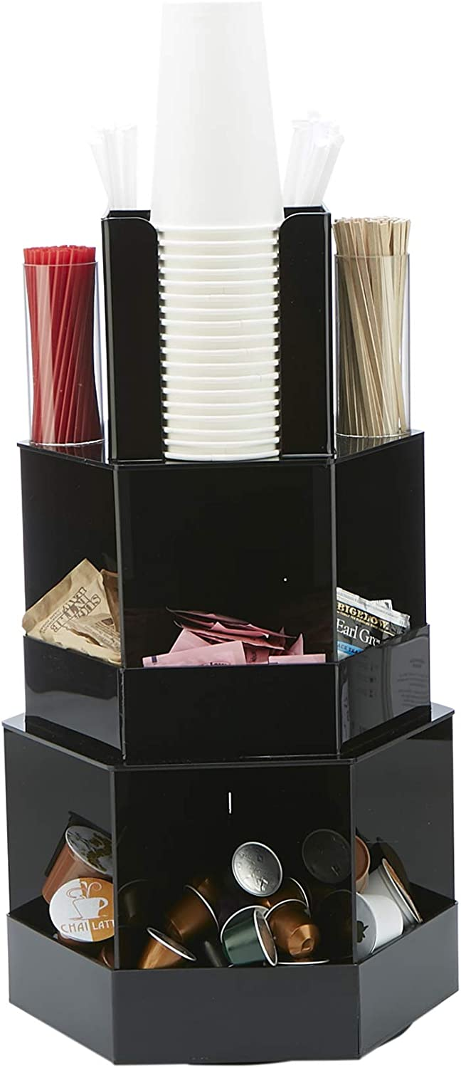 Mind Reader SETT-BLK 3-Tier Large Breakroom, Lazy Susan Coffee Condiment Organizer, One Size, Black 18 Compartment