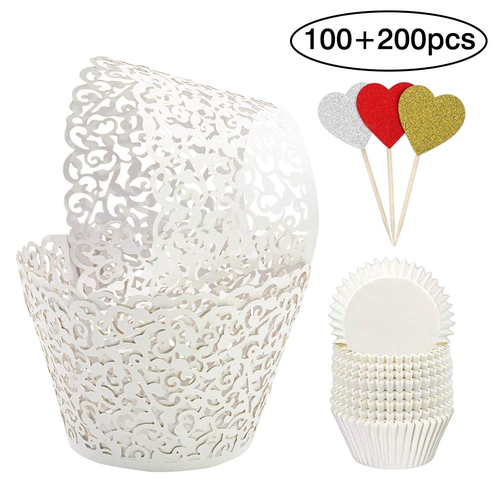 BAKHUK 100pcs White Cupcake Wrappers and 200pcs Cupcake Liners, Bake Cake Paper Lace Cupcake Wrappers for Wedding Birthday Party Decoration by BAKHUK