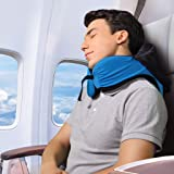 LANGRIA 6-in-1 Memory Foam Neck Support Travel Pillow with Detachable Hood Adjustable Neck Size for All Ages Side Elastic Pocket Neck Travel Cushion for Plane Train Car Bus Office (Blue)