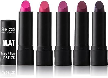 Lote de 5 rojas labial mate – show carta de color rosa con color morado ciruela – Pack B – Hydra Cover – Make Up profesional: Amazon.es: Belleza