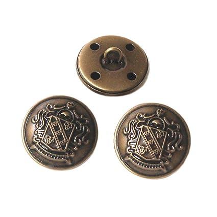 YaHoGa 10 Piezas Bronce Botones Metalicos 25 mm Botones para Trajes Chaquetas Abrigos Uniforme