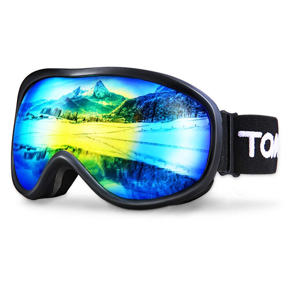 TOMSHOO Lunettes de Ski Masque de Snowboard Anti-bu/ée Anti-UV Lunettes de Protection Coupe-Vent pour Homme et Femme