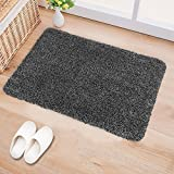 B&G Indoor Doormat Super Absorbs Mud Latex Backing Non Slip Door Mat for Front Door Inside Floor Dirt Trapper Mats Cotton Entrance Rug 18'x 28' Shoes Scraper Machine Washable Carpet Grey