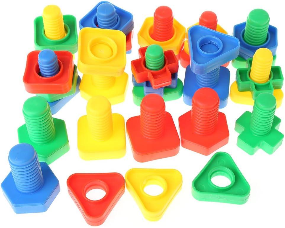 YiFeiCT Bloques de inserción, bloques de construcción de tornillos, juguetes de plástico, tornillos a juego, juguete educativo Montessori para niños