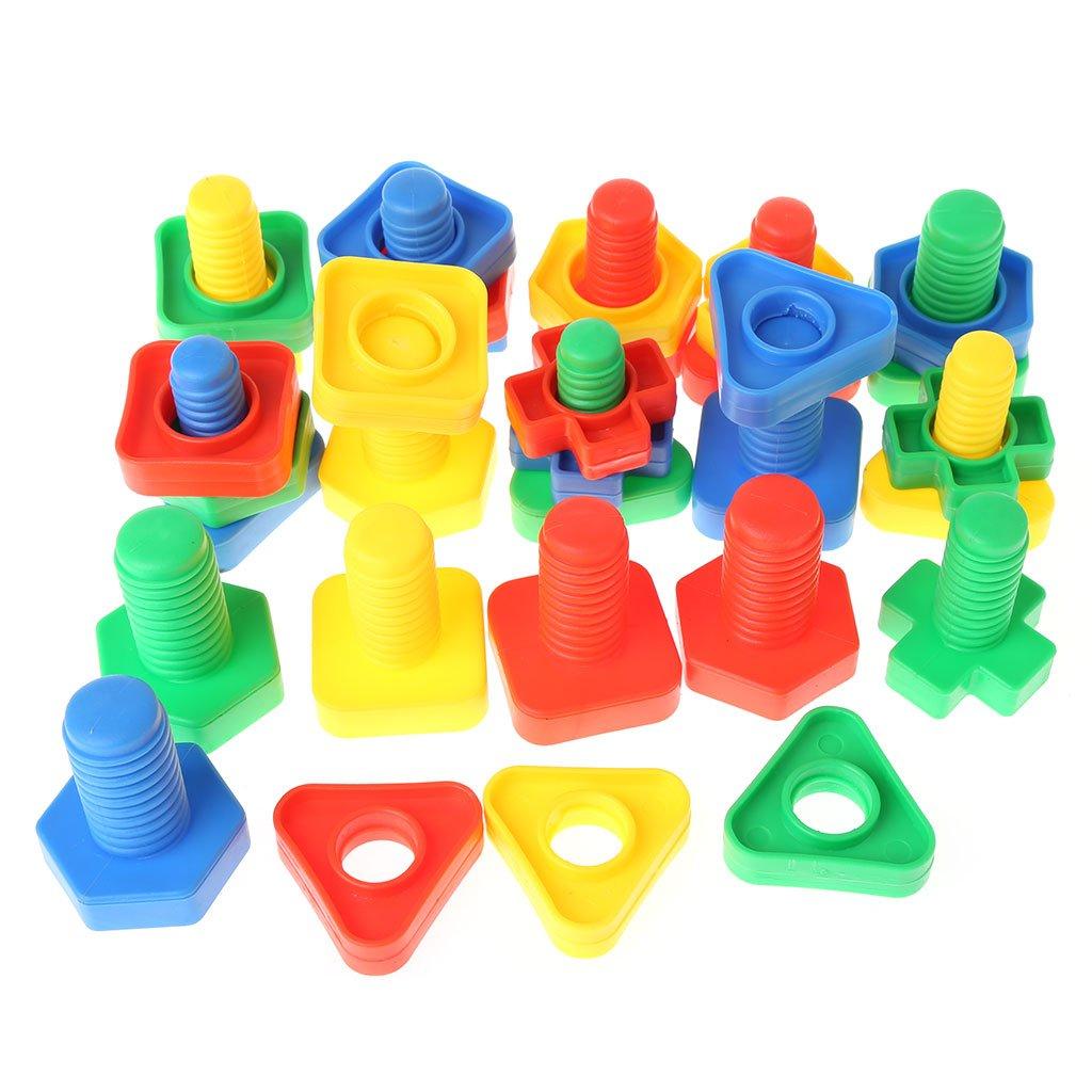 Suweqi 40 St/ücke Montessori Schraube Bausteine Kunststoffeinsatz Bl/öcke Mutter Form Spielzeug Lernspielzeug M/ädchen Baby Spielzeug Kleinkind Infant Spielzeug