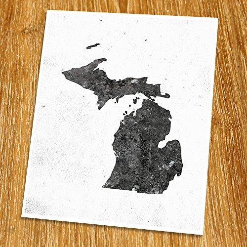 Michigan Map Print (Unframed), Minimalist Map Art, Scandinavian Map Poster, Industrial, Loft, Hipster, Living Room Decor, 8x10