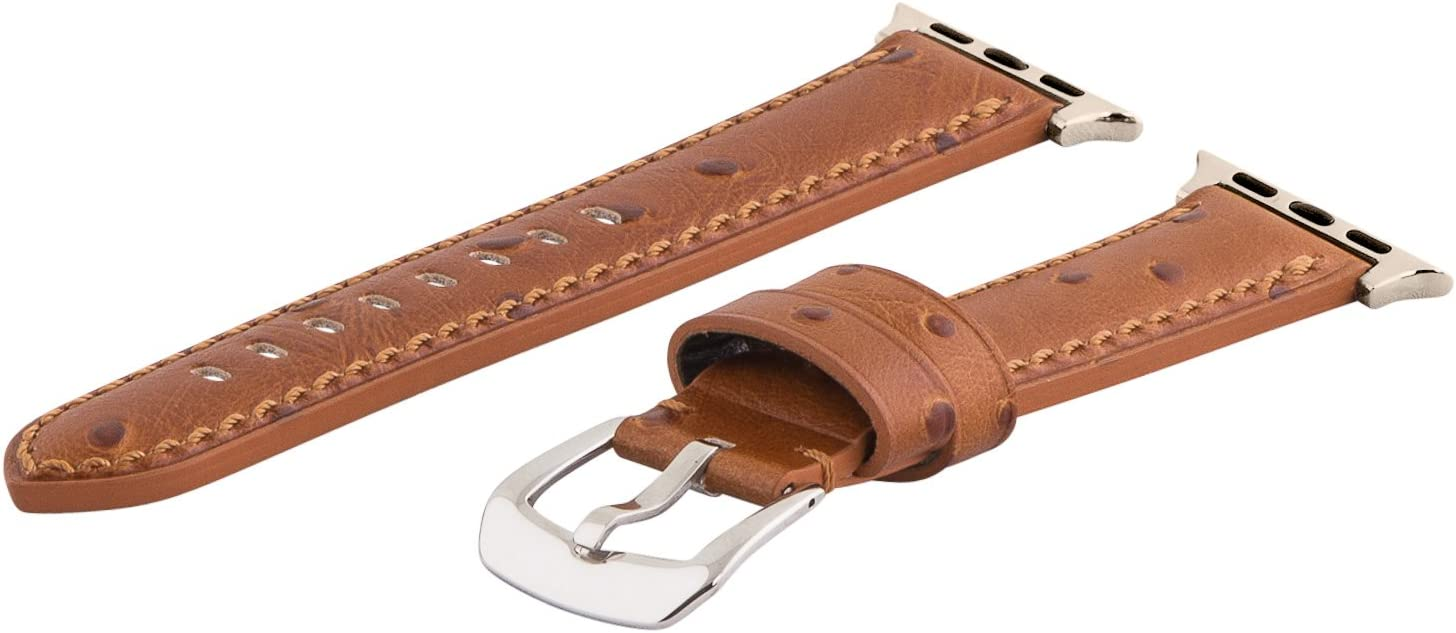 Clockwork Synergy - Gentlemen's Collection Leather Watch Bands for Apple Watch (38mm Saddle Ostrich)