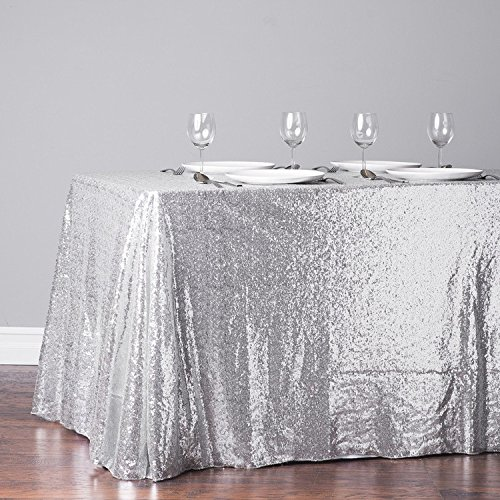 TRLYC 60 Inch by 120 Inch Silver Sequin Rectangular Tablecloth