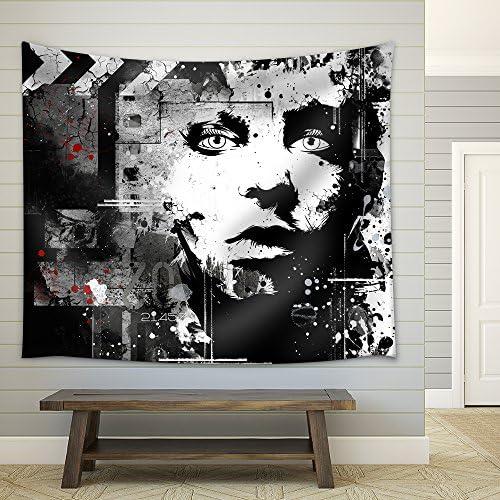 Teenage Girl on Grunge Background Grunge Style Generation Fabric Wall