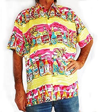 8e97a5984 Double Duck Loud Hawaiian Men's Shirt Yellow With Tropical Beer Bottles,  Holiday, Stag Night
