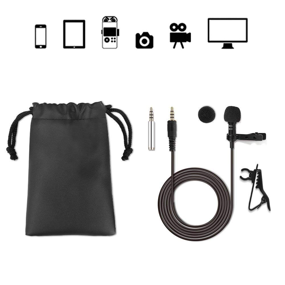 GHB Lavalier Microphone Mini Lapel Microphone Hands Free Omnidirectional Condenser 3.5mm for Iphone/Ipad/Ipod Touch/Samsung/Android/Windows Smartphones Smile&Satisfaction S304