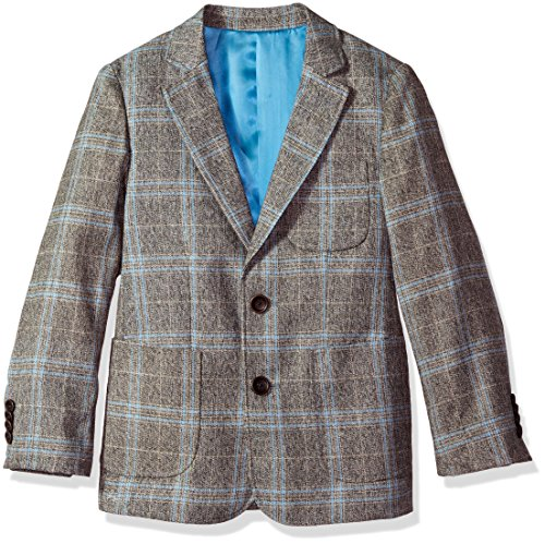 Isaac Mizrahi Big Boys' Large Contrast Plaid Blazer, Gray, 10