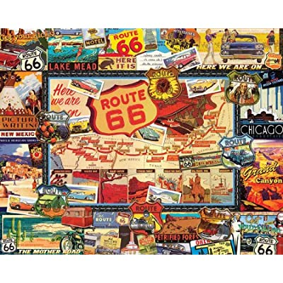 White Mountain Puzzles Route 66 - 1000 Piece Jigsaw Puzzle: Toys & Games