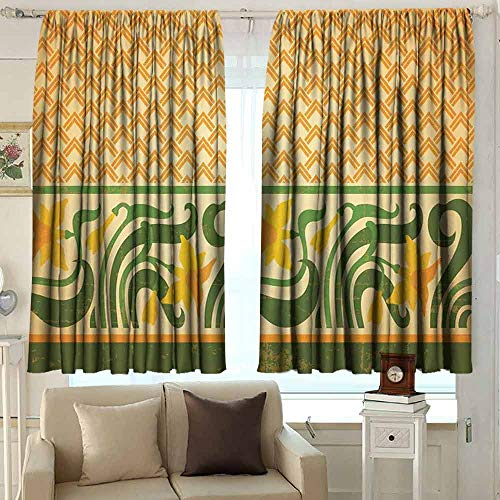 XXANS Exterior/Outside Curtains,Art Nouveau,Energy Efficient, Room Darkening,W63x45L Inches Orange Yellow Green Art Nouveau Bronze Door