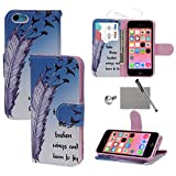 iPhone 5C Case, xhorizon TM SR Simple Floral Colorful Flower Oil Painting Magnetic Leather Flip Stand Case for iPhone 5C with a Stylus and a Dust-proof Plug as a gift