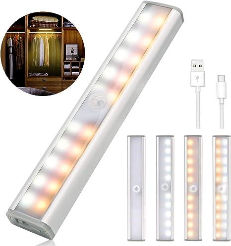 2PCS Luces Armario con Sensor Movimiento, 20 LED USB Recargable Luz Sensor Lamparas Luz Nocturna con 3 Niveles de Brillo, Lámpara Nocturna para Habitacion, Pasillo, Escalera, Cocina, Garaje, Gabinete: Amazon.es: Iluminación