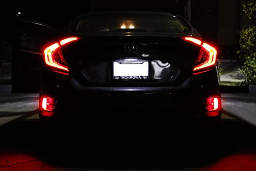 Amazon.com: iJDMTOY JDM Style LED Bumper Reflector Lights for 16-up Honda Civic Sedan/Coupe, Function as Tail, Brake & Rear Fog Lamps: Automotive