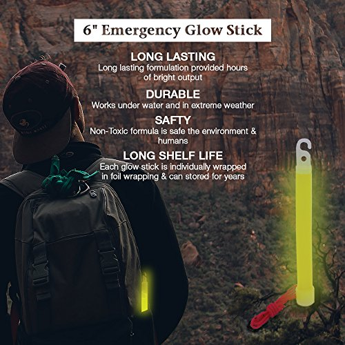 EACHPOLE [25 Pack] Emergency 6 inch Glow Stick Assortment Value Bundle for Camping, Hiking, Roadside Assistance, Emergencies Various Colors, APL1696