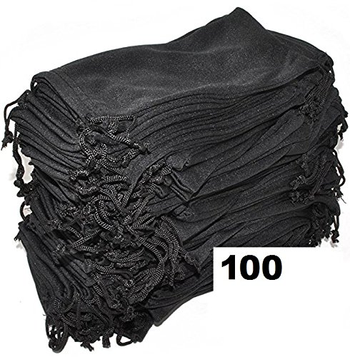 Wholesale Eyewear Eyeglass Sunglasses Microfiber Soft Cloth Cleaning Black Case Pouch Bag 12, 24, 100, 1200 & 2400 PCS (100)