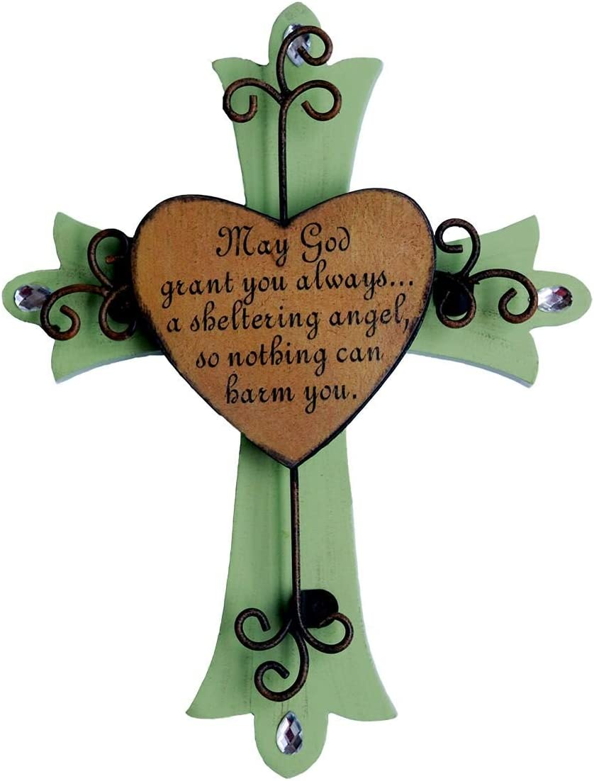 Sell4Style Unique Wooden Crucifix with Antiqued Metal Decorative Heart and Inspirational Prayer Inscribed On Cross (Design 1)