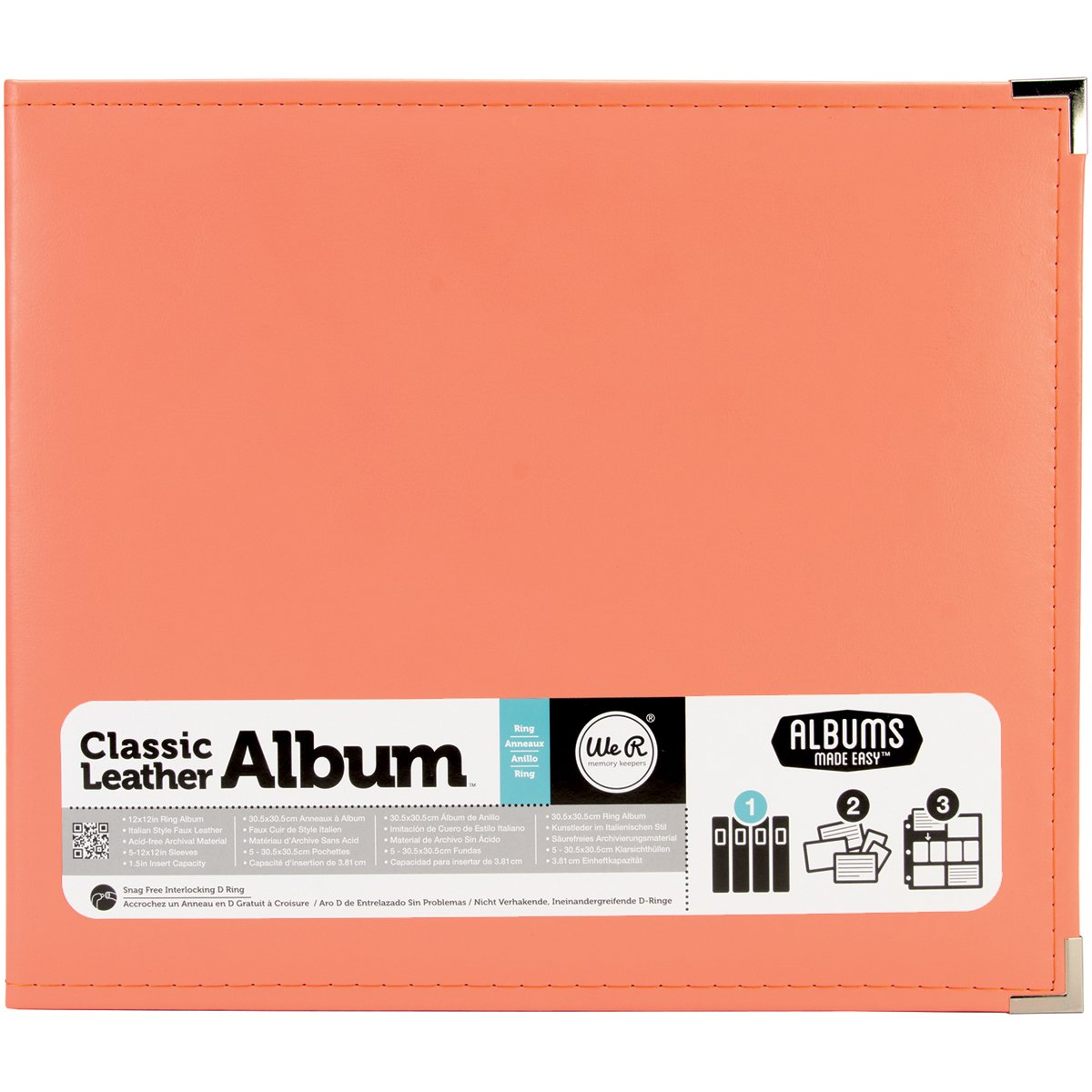 American Crafts 660906 We R Memory Keepers Classic D-Ring Scrapbooking Album, 12'' x 12'', Coral