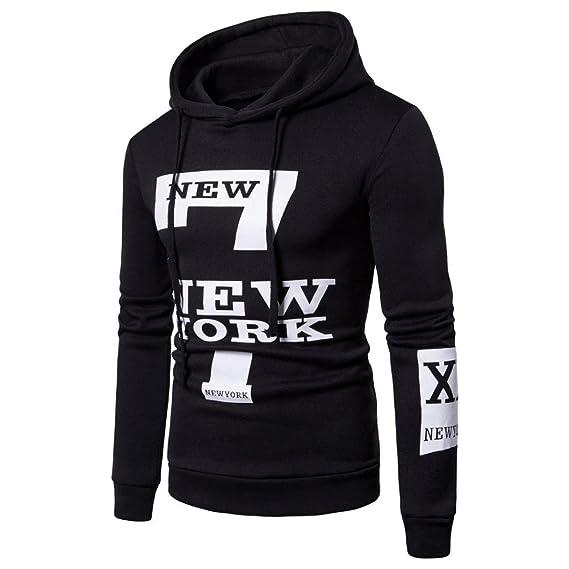 611c49cffb3 TOOPOOT Men s 2018 Hooded Outwear Winter Warm Printed York Hoodie Hooded  Sweatshirt Top Coat Medium Black