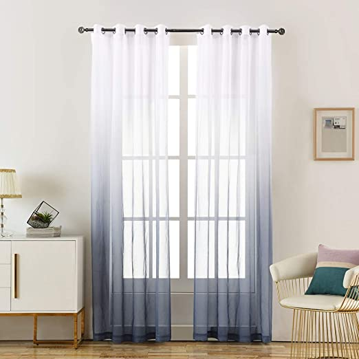 Amazon Com Loyolady Grey Ombre Sheer Curtains For Bedroom Gradient Sheer Living Room Curtains 102 Inches Long 2 Panels 52 W X 102 L Grommet Sheers Curtain For Kids Home Kitchen,How To Add Backsplash To Your Kitchen