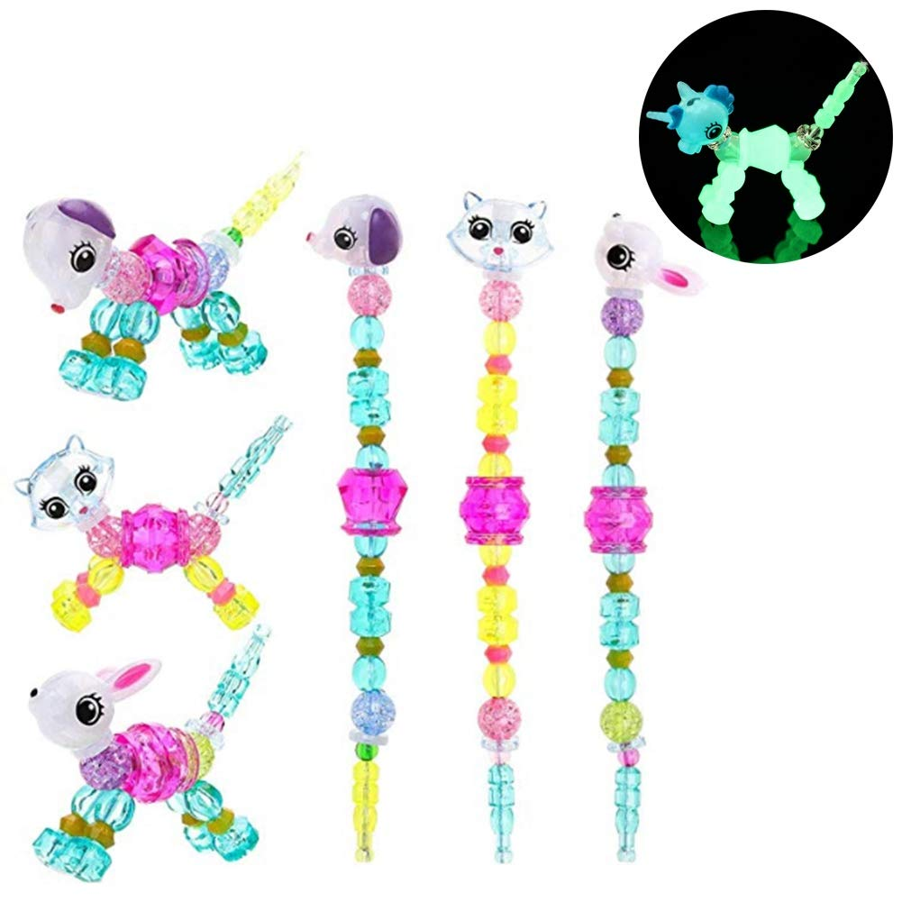 HongG Colorful Magical Pets Bracelets for Girls Transforms Magically from Bracelet to Pet. Colorful Jewel-Like Beads Bracelet GWQIT5473536