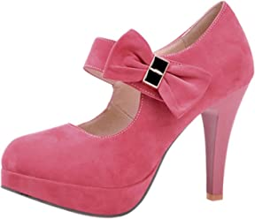 da6f8652 ENMAYER Womens Fashion Knots High Heels Platform Pumps Mary Janes