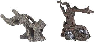 emours Aquarium Fake Resin Spider Driftwood Branches for Geckos Reptiles Fish Tank Aquascape Decor, 2 Piece Pack