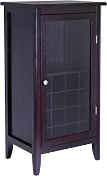 Winsome Wood Ryan 16-Bottle Wine Cabinet with Display Glass Door