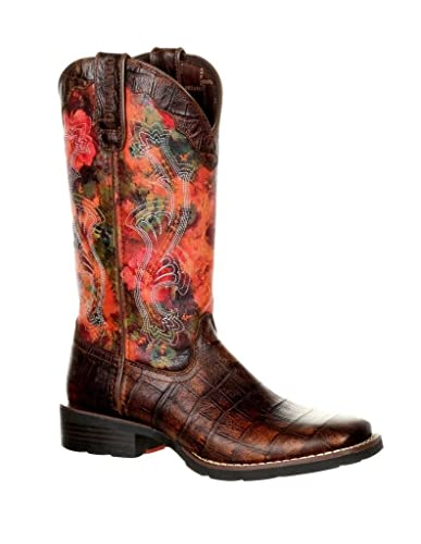 Western Boots Womens Faux Exotic Mustang Floral Rose DRD0226