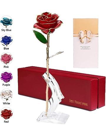 Anaoo Rosa 24K, Rosa Eterna Flores Chapadas en Oro con Caja de Regalo para el