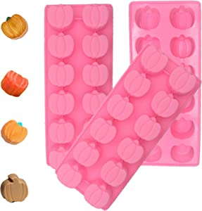 3 Pcs 3D Mini Silicone Molds Halloween Pumpkin Candy Mold,Chocolate Mold Ice Cube Tray for Making for Soap, Jelly, Brownie, Chocolate Truffle Pudding and Ice Cream Bombe, 8.9 x 3.7 x 1.6 Inch (Pink)
