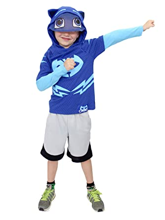 PJ Masks Toddler Boys Catboy Costume Hooded Tee with Mask (2T, Blue Long Sleeve