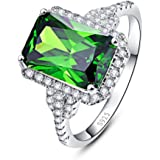 Merthus Womens 925 Sterling Silver Created Mystic Rainbow Topaz Halo Engagement Ring