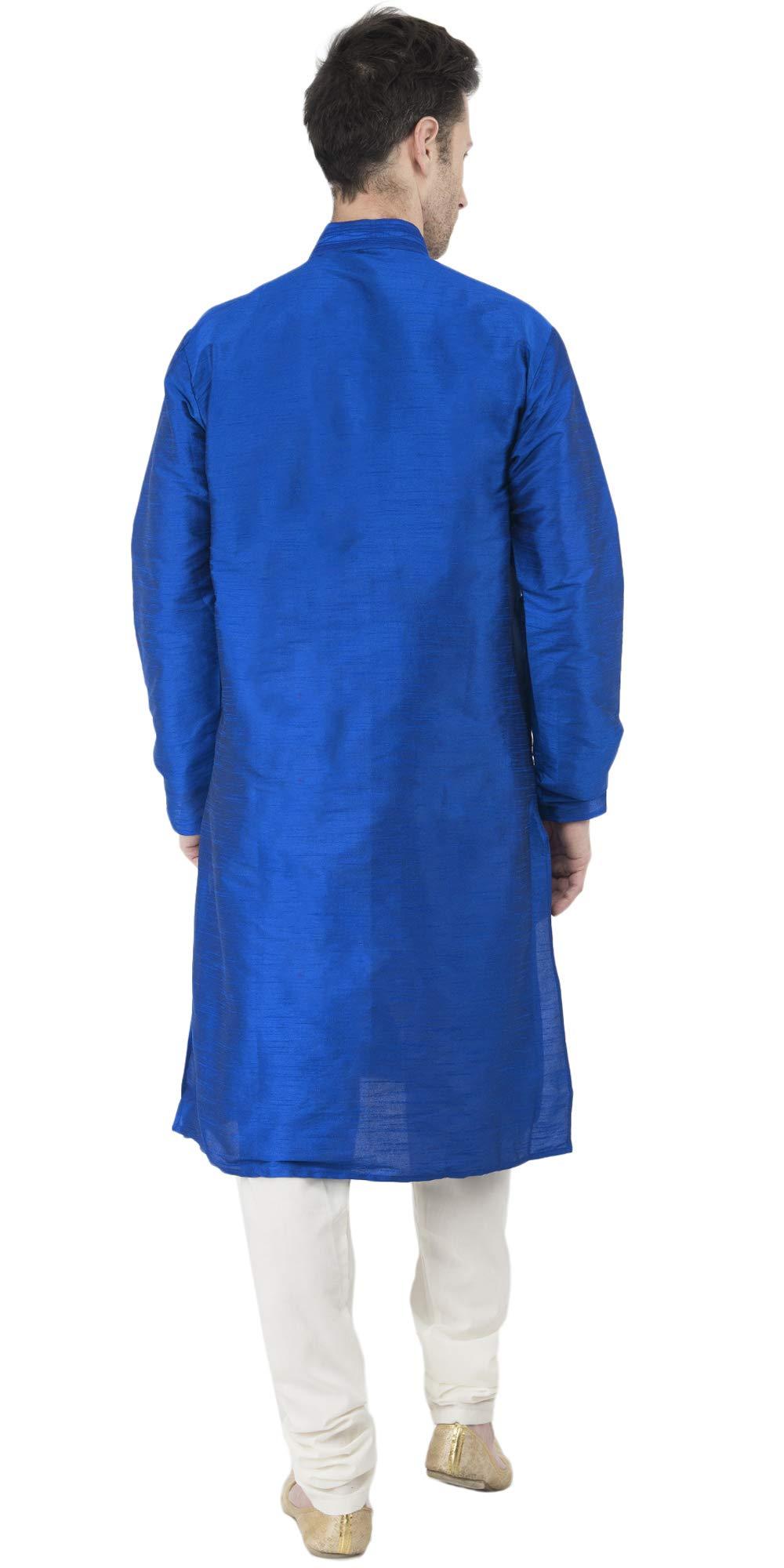Kurta Pajama Long Sleeve Button Down Dress Shirt Indian Men Wedding Ethnic Casual Dress Traditional Set -XL by SKAVIJ (Image #5)