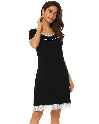 a9b4abbe3a Suzicca Women Cotton Scoopneck Nightgown Short Sleeve Sleepwear Loose Sleep  Shirt with Lace