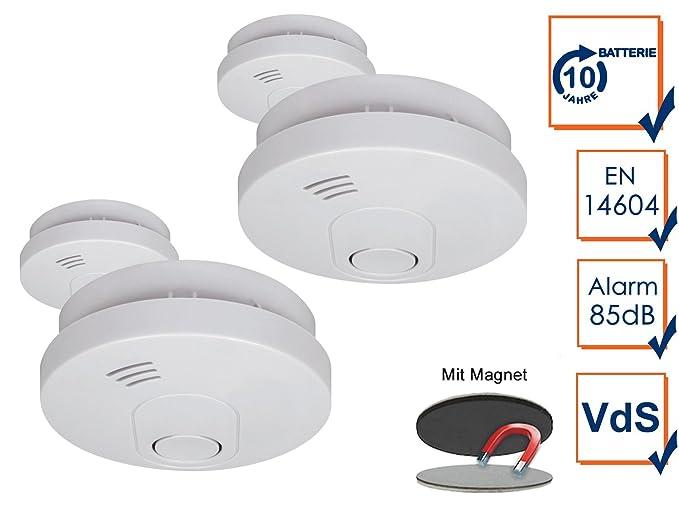 Pack de 4 detectores de humo con Magnético adhesivas Kit, 10 años de garantía y de batería/DIN EN14604, color blanco, ELRO: Amazon.es: Bricolaje y ...